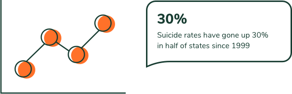 30%. Suicide rates have gone up 30% in half of states since 1999.